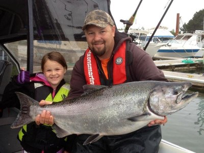 This large fall Chinook salmon was caught at buoy 10 on the lower Columbia River.