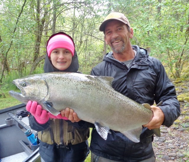 A thick spring chinook salmon caught on the rogue river