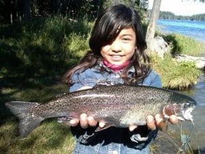 Girl holding trout