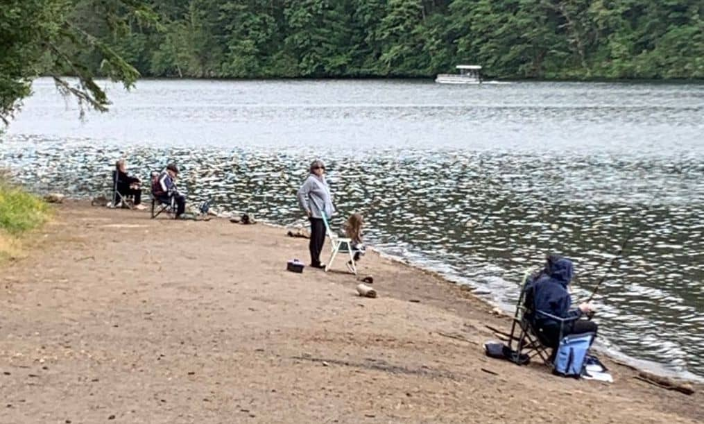 Bank anglers fishing for rainbow trout at North Fork Reservoir