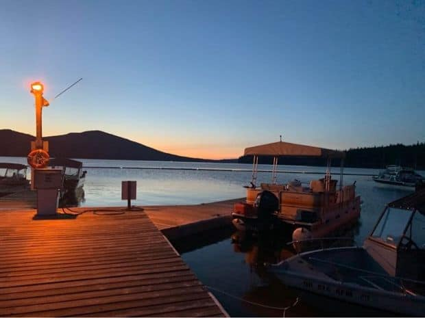 Dawn breaks at odell lake in Oregon for another day of great fishing.