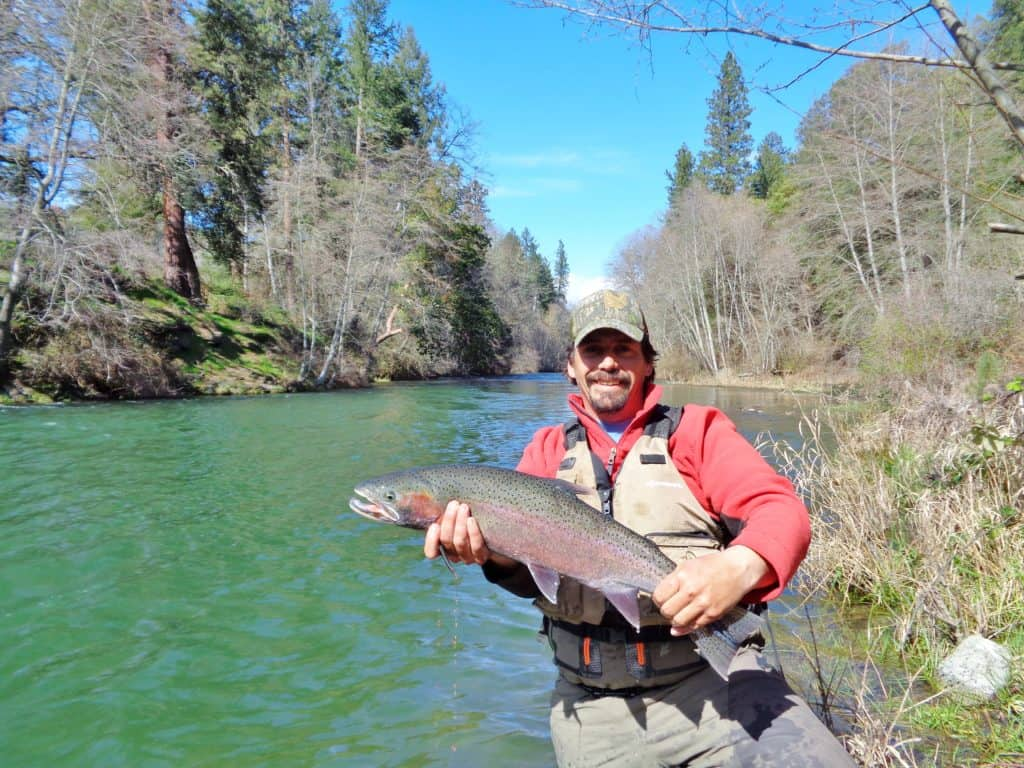 Photo shows a large steelhead caught on the applegate river.