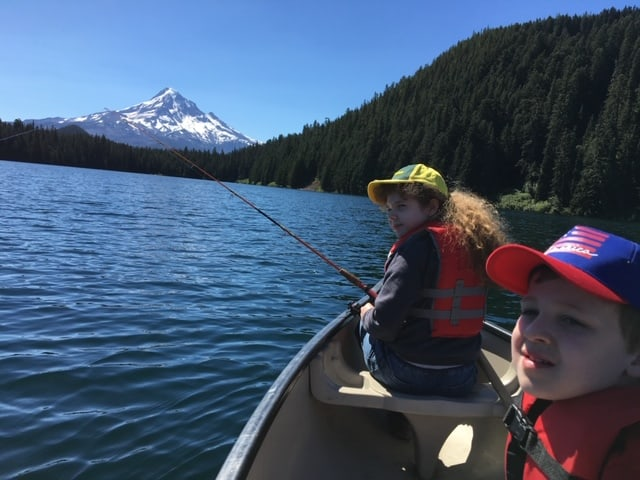 Fishing from a canoe or other human-powered craft is a peaceful way to catch trout at Lost Lake, where boat motors are not allowed.