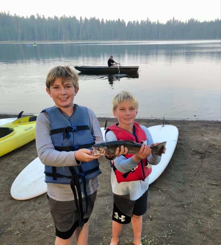 boys with trout caught at twin lakes oregon