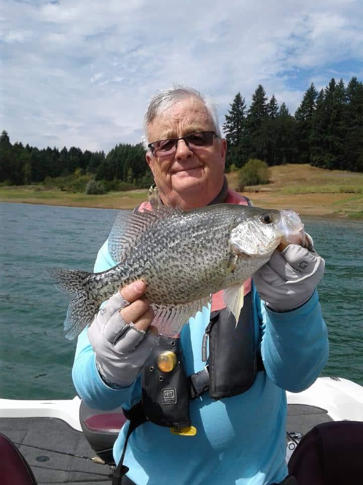 A big crappie caught at Hagg Lake