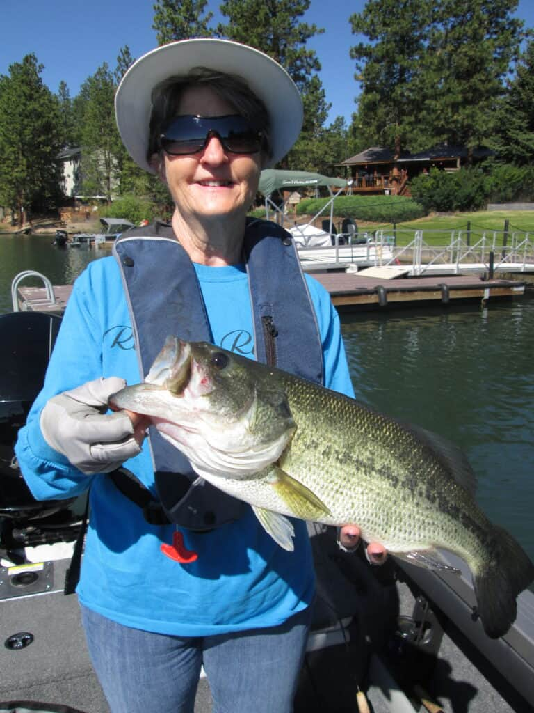 largemouth bass caught in a lake