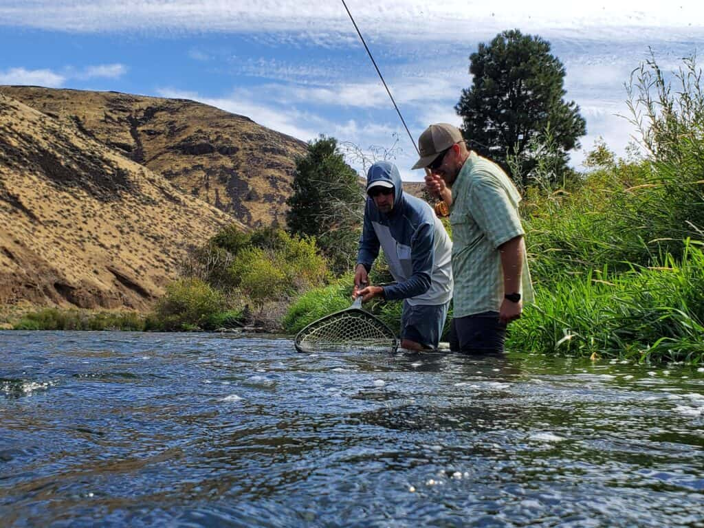 netting a trout on the yakima river in washington