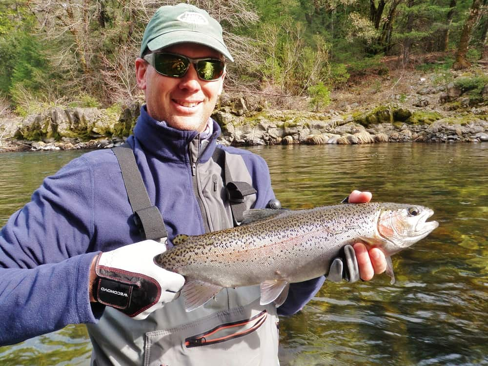 large rainbow trout caught on the upper sacramento river in northern california