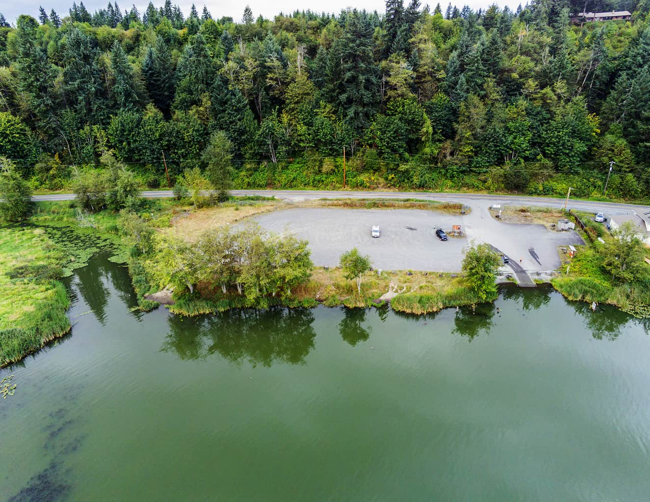 dock and boat launch area at ohop lake