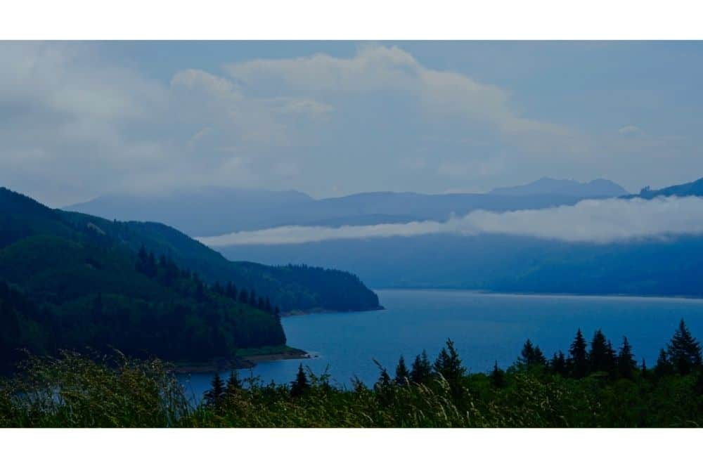 Scenic view of Riffe Lake, a large Washington reservoir known most for fishing for landlocked coho salmon and smallmouth bass.