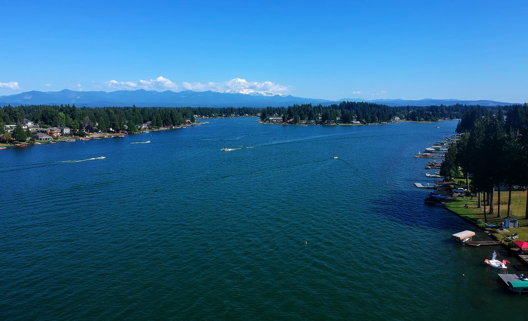 lake tapps scenic of boats and docks and homes
