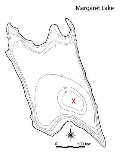 This bathymetric map shows the depth at different parts of Lake Margaret.
