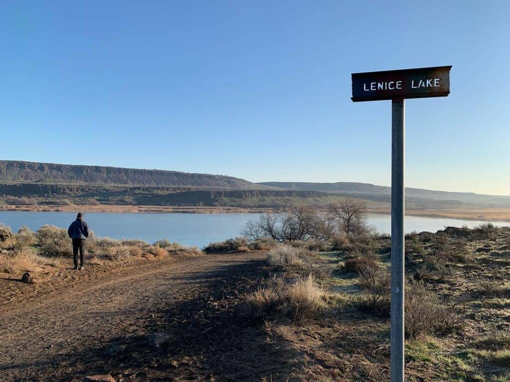 Lenice Lake in central Washington is off the beaten path but is a favorite spot for fly fishing for trophy trout in the desert.