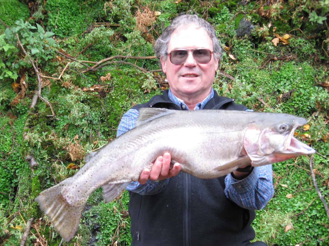 Angler holds up giant 10-pound Lahontan cutthroat caught at Lenore Lake in Washington