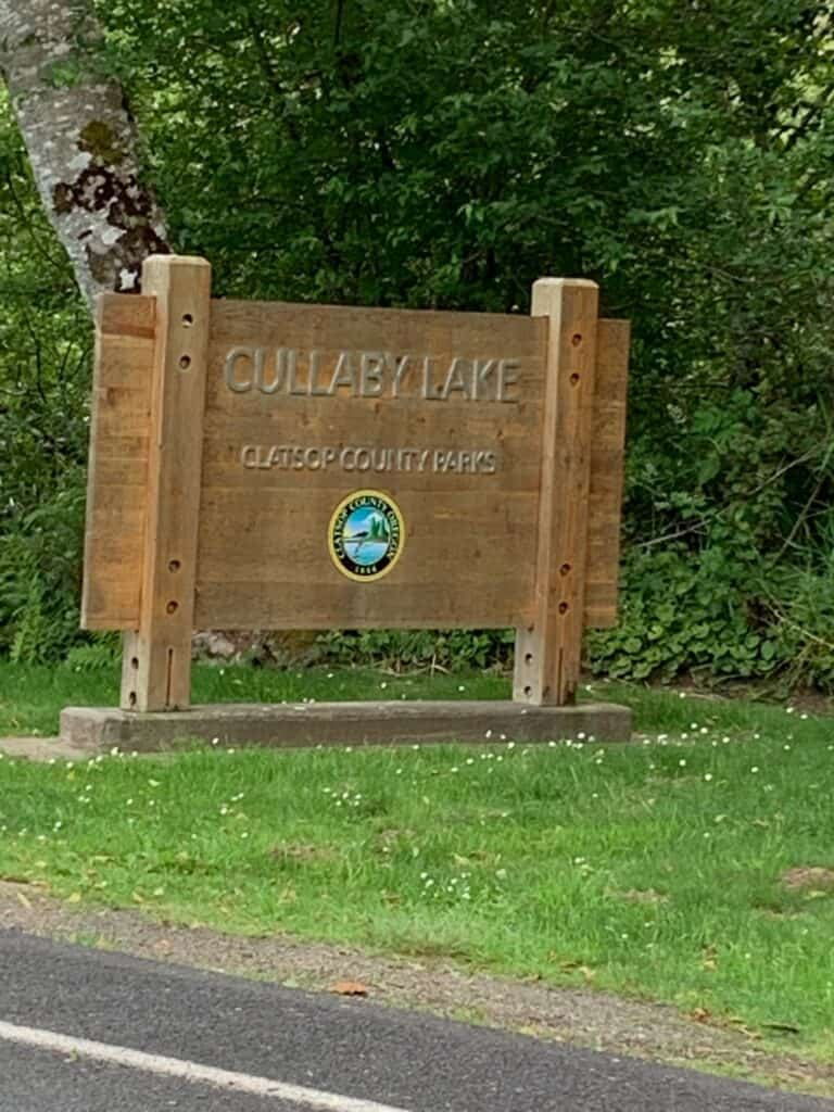Cullaby Lake County Park entrance sign.