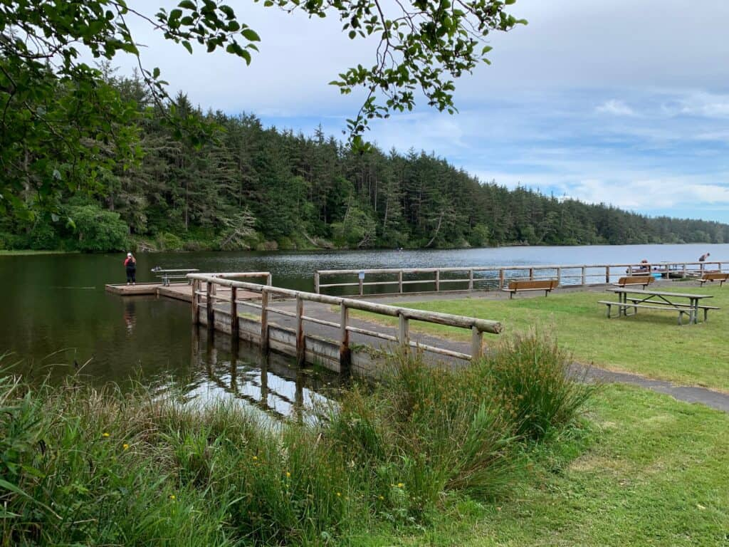 Docks and platforms offer a very good amount of bank fishing access at Coffenbury Lake in Fort Stevens State Park on the northern Oregon Coast.