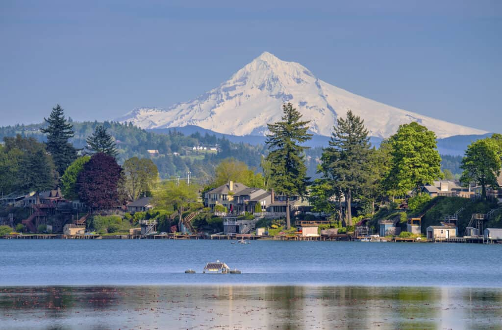 A scenic view of Blue Lake in Fairview east of Portland, with Mount Hood rising in the background.