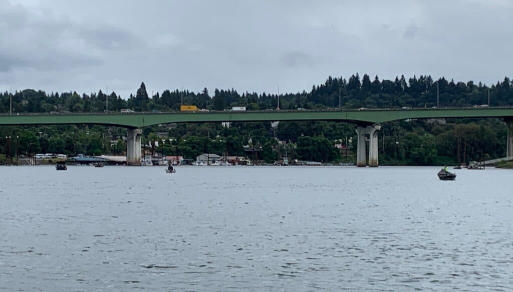Boaters are fishing for spring Chinook salmon near the I-205 bridge in the Oregon City and West Linn area.