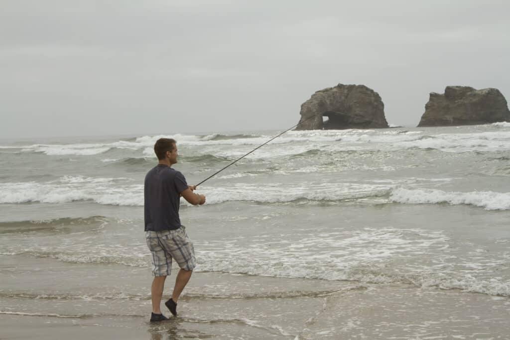 Fishing in the surf at Rockaway Beach in Tillamook County