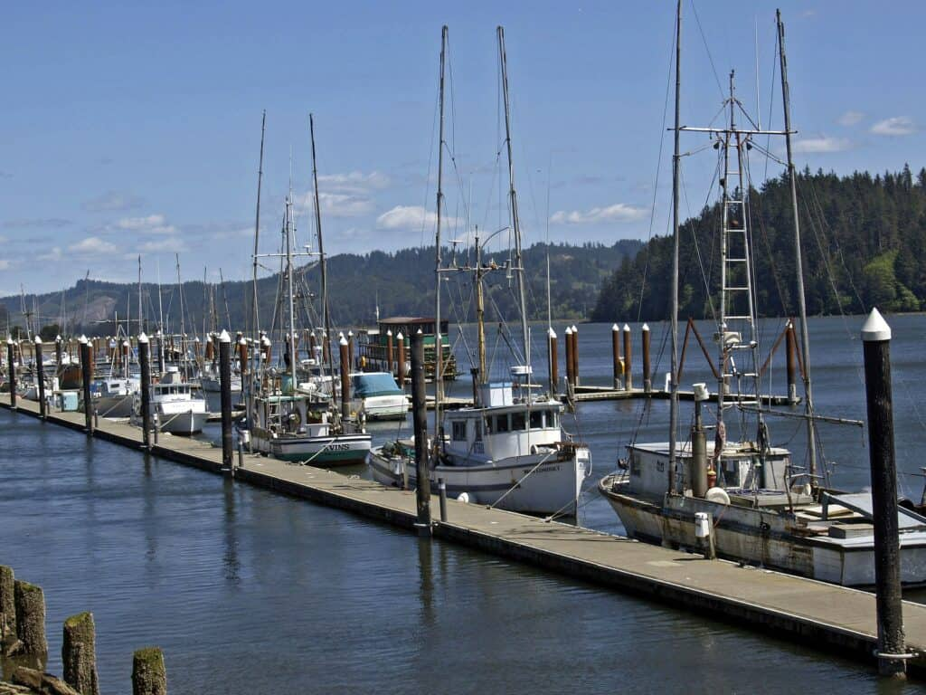 Fishing and crabbing boats docked in Florence Oregon.