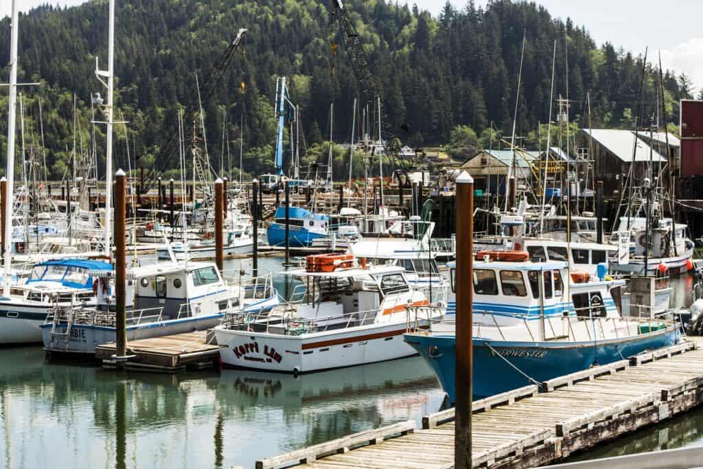 Boats docked at Garibaldi on Tillamook Bay in northwest Oregon.