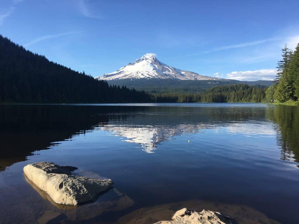 Mount Hood reflects on Trillium Lake