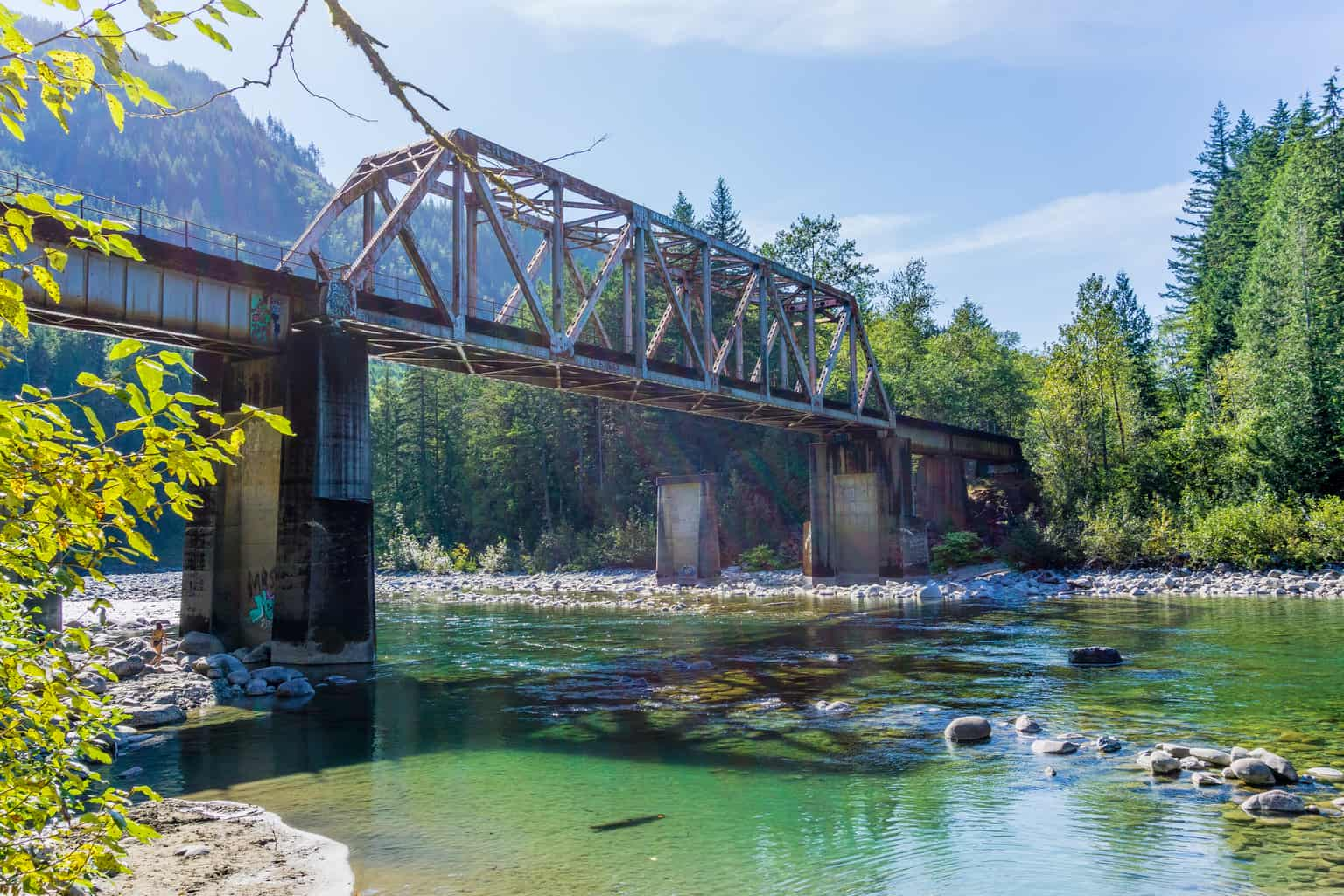 railroad bridge crossing skykomish river