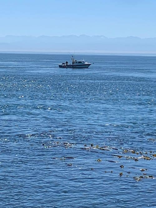 Fishing boat trying to catch salmon off san juan island washington