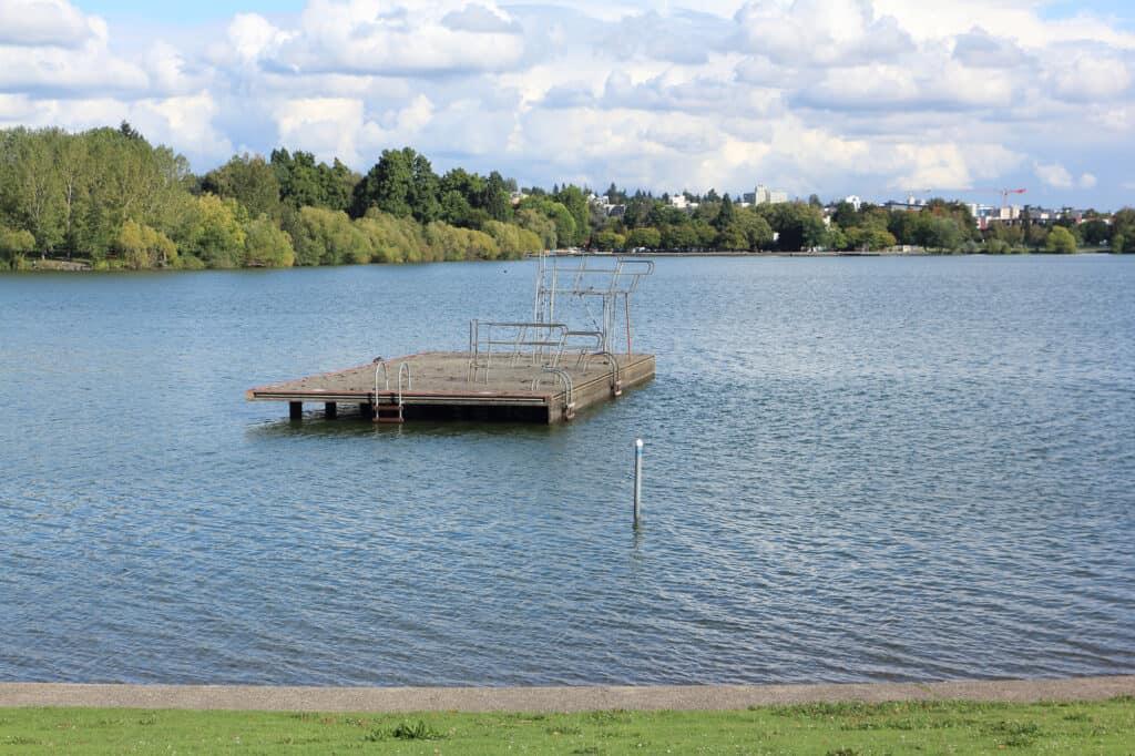 swimming dock at green lake park in seattle