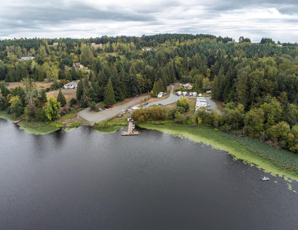 Aerial view of Harts Lake