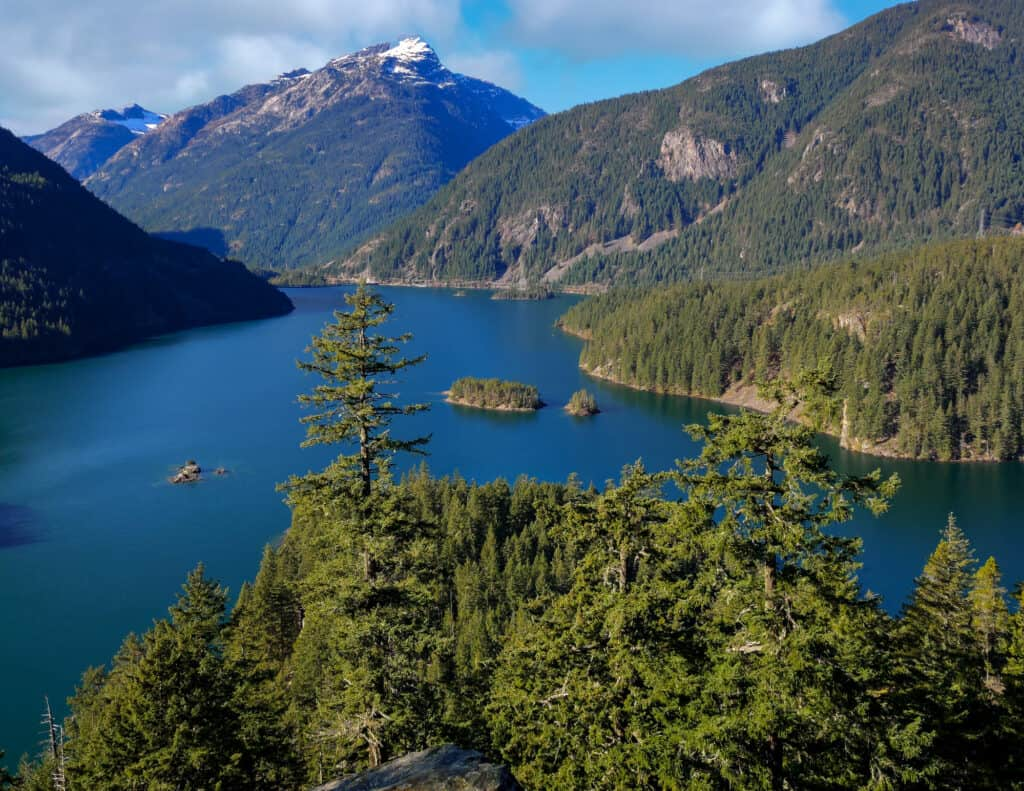 scenic view of ross lake in northern washington's whatcom county