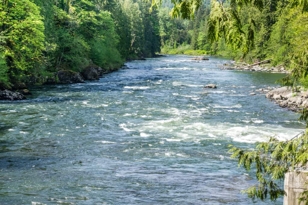 Fast water in Snoqualmie River