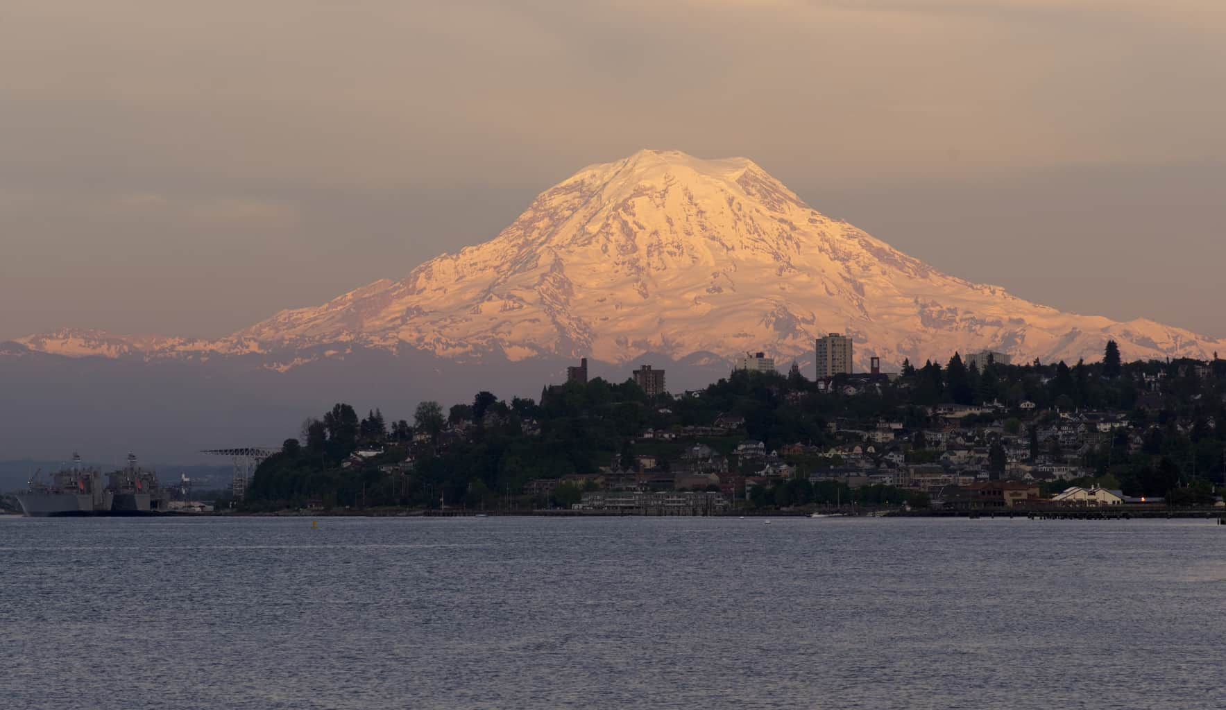 Mount Rainier rises over the Puget Sound in Tacoma