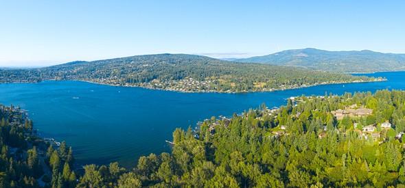 aerial photo of part of lake whatcom