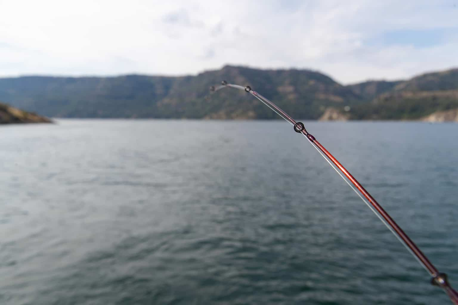 A fishing rod in water at Lake Roosevelt, a giant reservoir in Washington.