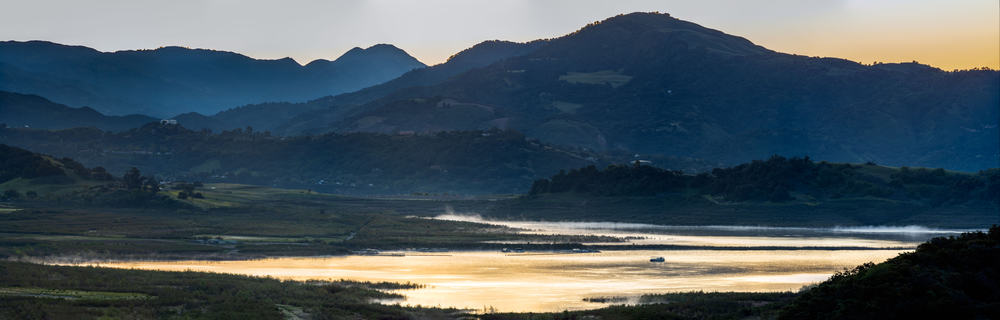 Lake Casitas, shown in glow of dawn, is one of Southern California's best bass fishing lakes.