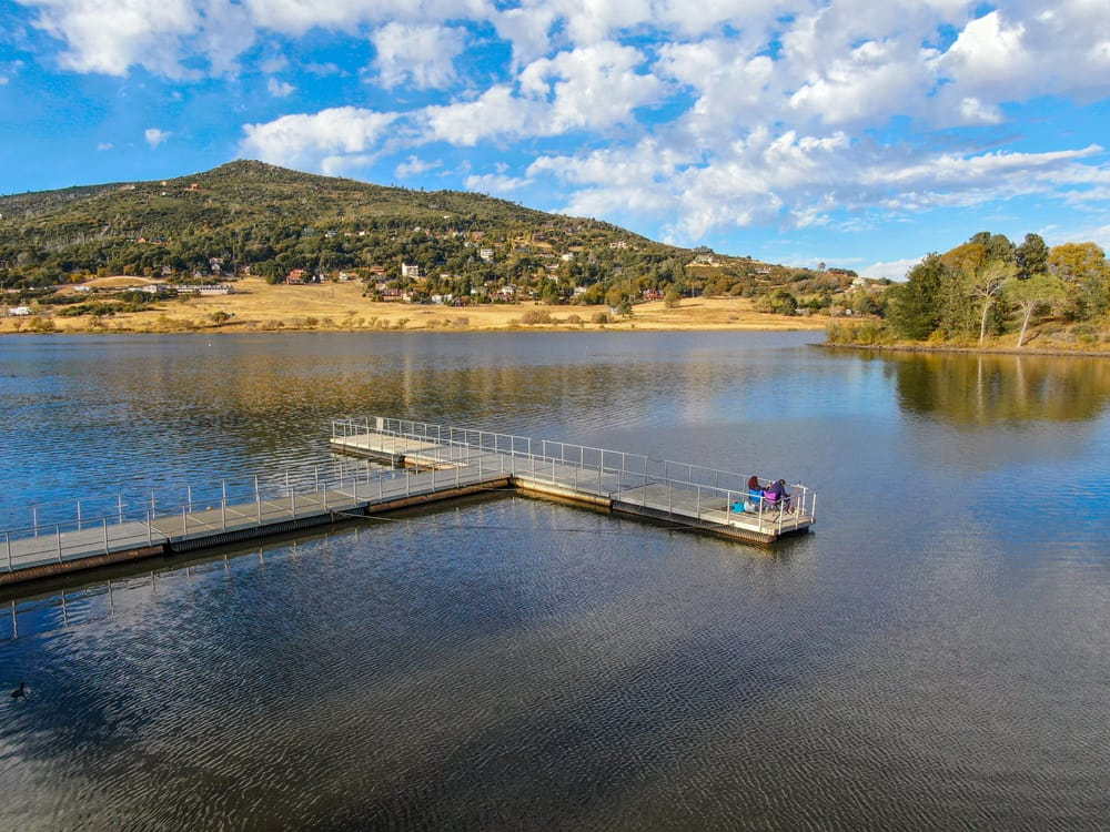 Aerial view of fishing pier at Lake Cuyamaca, known for bass fishing in eastern San Diego County, California.