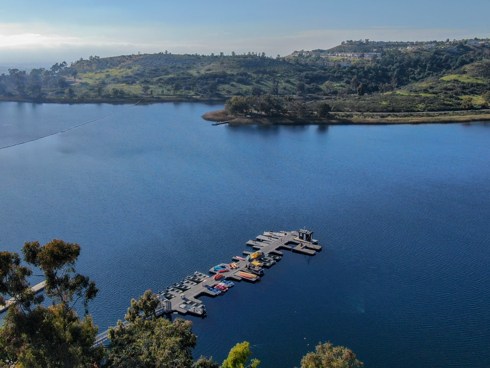 Aerial photo of Lake Miramar, a popular bass fishing spot in the suburbs of San Diego.
