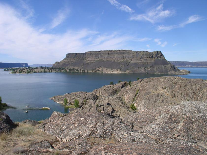 Steamboat Rock rises from Banks Lake, one of Washington's premiere fishing lakes
