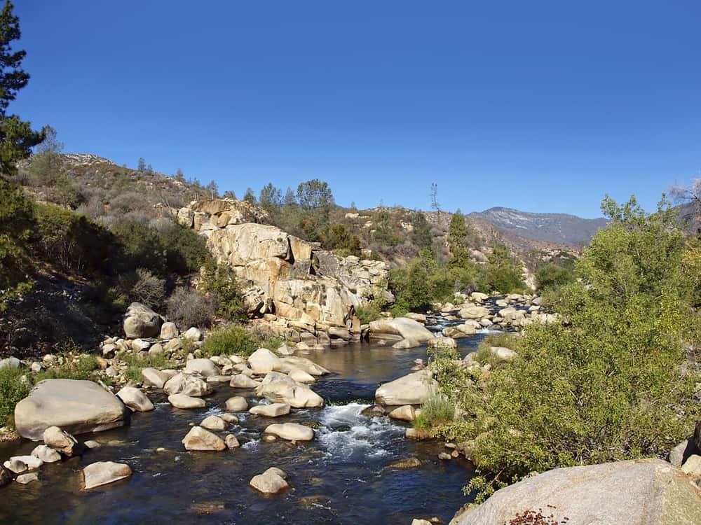 The Kern River flows through an arid canyon near Kernville, California.