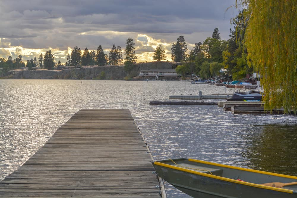 View of fishing docks at Williams Lake in Spokane County, Washington