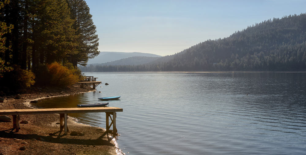 Shoreline scene of Donner Lake in the California mountains, a good spot to catch trout and kokanee.