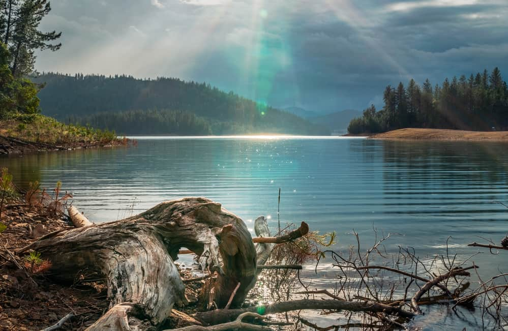 Scenic view of sunset at Whiskeytown Lake, one of California's top kokanee fishing spots.