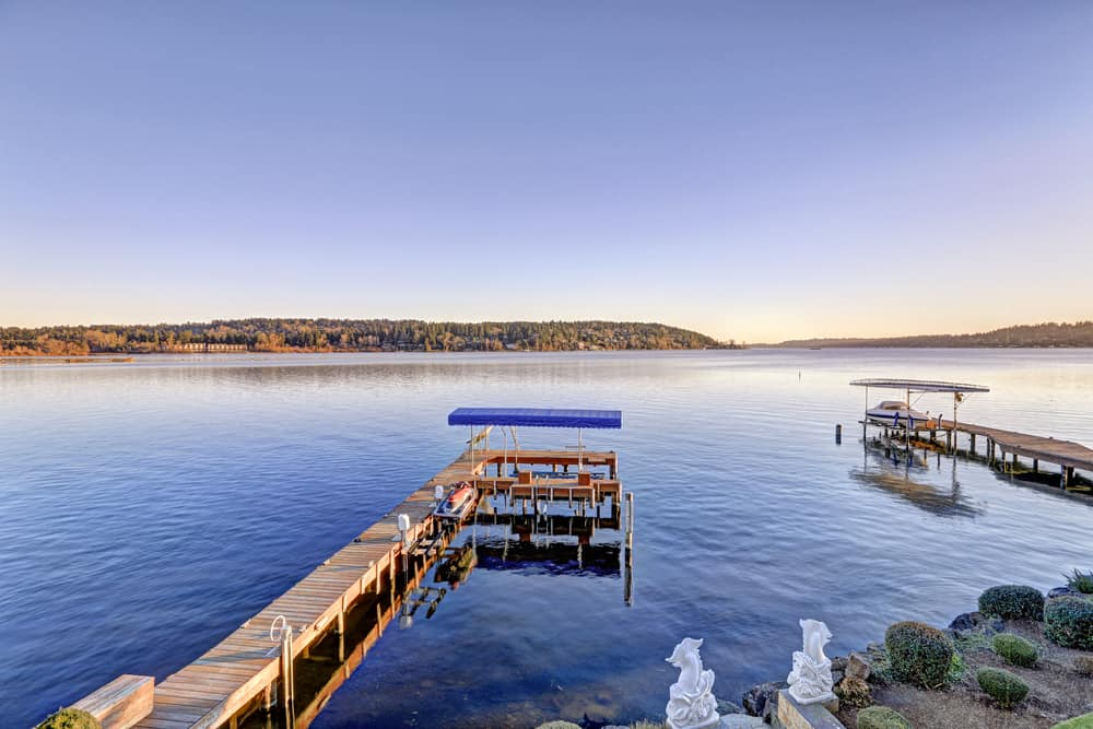 Private docks along the shore of Lake Washington, which offers a variety of fishing opportunities near Seattle.