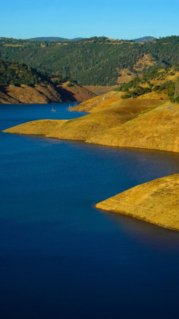 Scenic vertical photograph with bare shoreline points jutting into blue water at New Melones Lake.