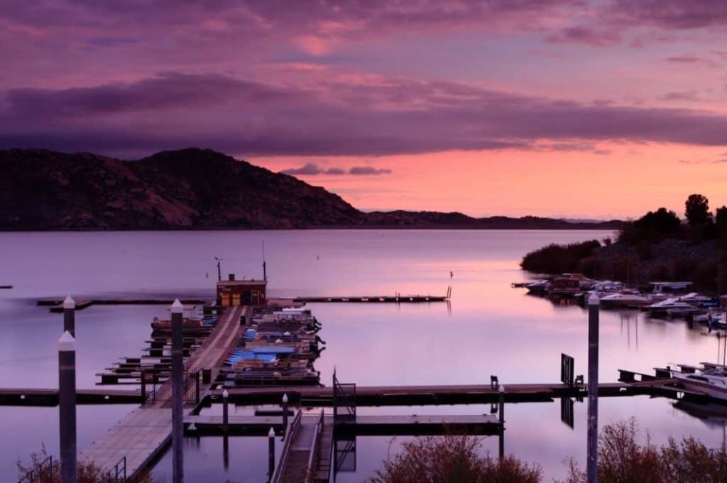 Sunset over marina at Lake Perris, California