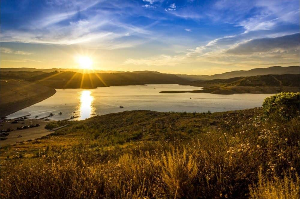 The sun sets over Castaic Lake, one of Southern California's premier fishing spots.