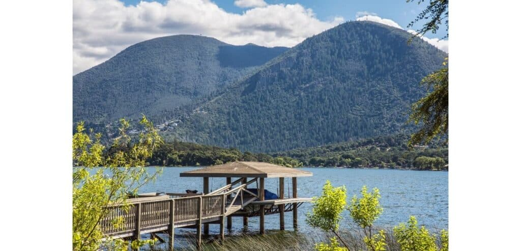 A fishing dock at Clear Lake, one of the best crappie fishing spots in California.
