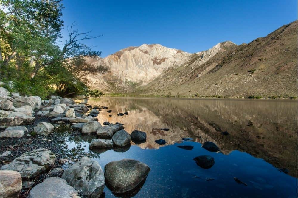 Scenic view of Convict Lake, one of the best fishing spots in the Sierras of Southern California.