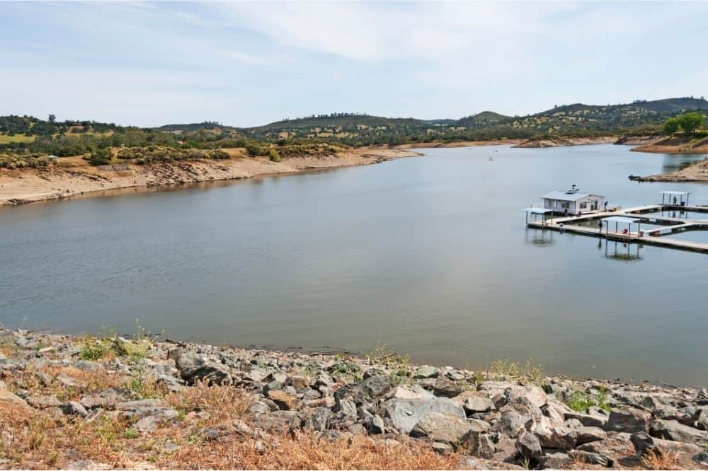 The fishing docks stick out into Lake Amador during low water.